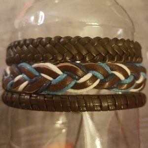 Set of (3) HANDMADE Leather Bracelets